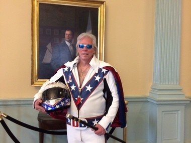Doug Danger, a world record holder in motorcycle jumping originally from Palmer, visits the Massachusetts Statehouse on April 7, 2016.