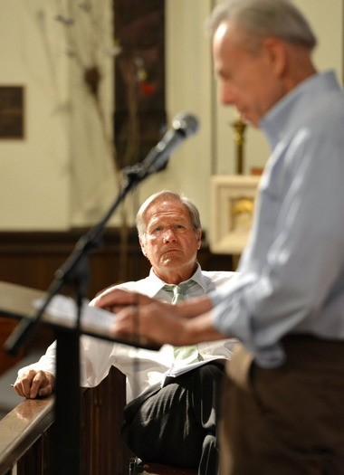 SPRINGFIELD - Former Massachusetts Attorney General Scott Harshbarger listens as former Connecticut Congressman Bob Steele speaks at an anti-casino rally held in 2013 at the Christ Church Cathedral.