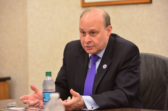 In this Republican File Photo, State Senate President Stanley Rosenberg sits with the editorial board of The Republican. (JOHN SUCHOCKI / THE REPUBLICAN)