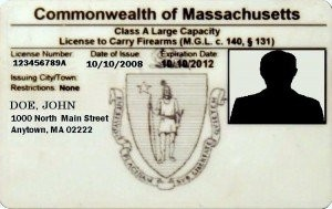 An example of a Class A license to carry permit issued by the commonwealth of Massachusetts.