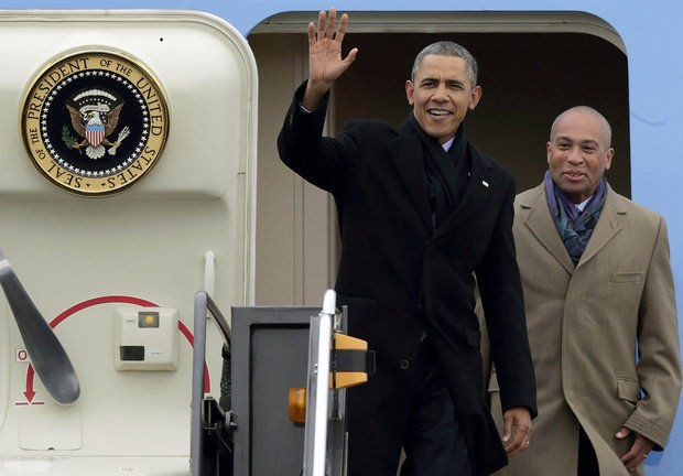 In this undated AP file photo, former president Barack Obama is seen with former Massachusetts Gov. Deval Patrick.