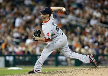 Boston Red Sox pitcher Andrew Bailey throws against the Detroit Tigers in the ninth inning of a baseball game in Detroit, Thursday, June 20, 2013. Detroit won 4-3. (AP Photo/Paul Sancya)