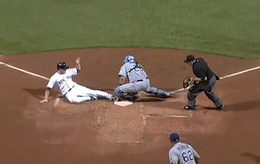 Nava clearly beat the throw.