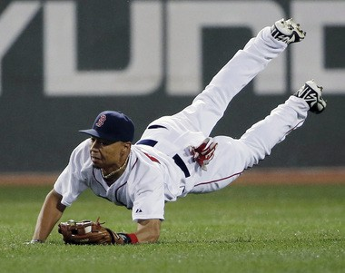 Mookie Betts was an infielder in high school, but learned the outfield this year (AP photo).