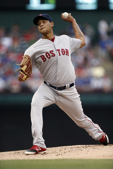 Eduardo Rodriguez works against the Texas Rangers during the first inning of his major league debut Thursday.