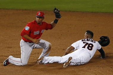 Boston Red Sox shortstop Marco Hernandez (79) is late on a tag as Minnesota Twins' Heiker Meneses (78) makes it to second base safely Thursday in Fort Myers, Fla. (Corey Perrine/Naples Daily News via AP)