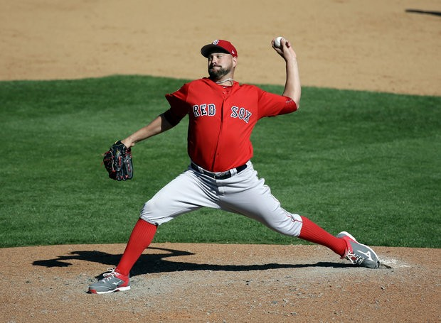 Boston Red Sox pitcher Brian Johnson pitches against the Atlanta Braves in the sixth inning in a spring training baseball game, Friday, March 3, 2017, in Kissimmee, Fla. (AP Photo/John Raoux)