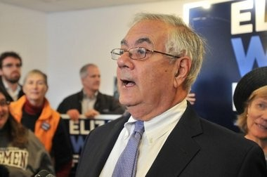 Outgoing Congressman Barney Frank speaks to a crowd of supporters for then-Senate candidate Elizabeth Warren at the Warren campaign office on Strong Avenue in Northampton.