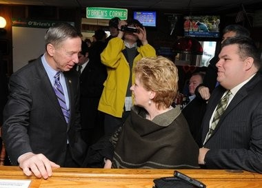 U.S. Rep. Stephen Lynch, D-Mass., speaks with Elizabeth Tynan-Moriarty and her husband Patrick Moriarty of Feeding Hills during a campaign stop at Obrien's Corner in Springfield on Jan. 31, 2013. Lynch is seeking the Democratic nomination in the special election to replace Secretary of State John Kerry int he U.S. Senate.