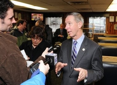 U.S. Rep. Stephen F. Lynch, D-South Boston, left, is shown here in Springfield on Jan. 31 as he campaigned for the U.S. Senate seat now vacant in Massachusetts. He talks with reporters during a stop at O'Brien's Corner.