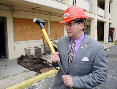 05.09.2013 | SPRINGFIELD -- Mayor Domenic J. Sarno at a ceremony to mark the beginning of the demolition of the River Inn at the corner of State and Thompson streets.