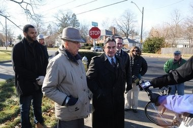 11.25.2013 | SPRINGFIELD -- Springfield Mayor Domenic J. Sarno, center, talks about the new bicycle lanes along Plumtree Road. At left is City Councilor Clodovaldo Concepcion. (Photo by Mark M. Murray / The Republican)