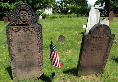 A gravestone sits in the Old Burying Ground June 26 in Westfield.