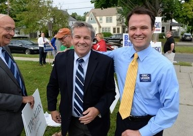 Timothy Allen, left and Eric Lesser right, both Democratic candidates for the First Hampden/Hampshire State Senate meet up at the Frederick Harris School in polling location in Springfield late Tuesday afternoon.