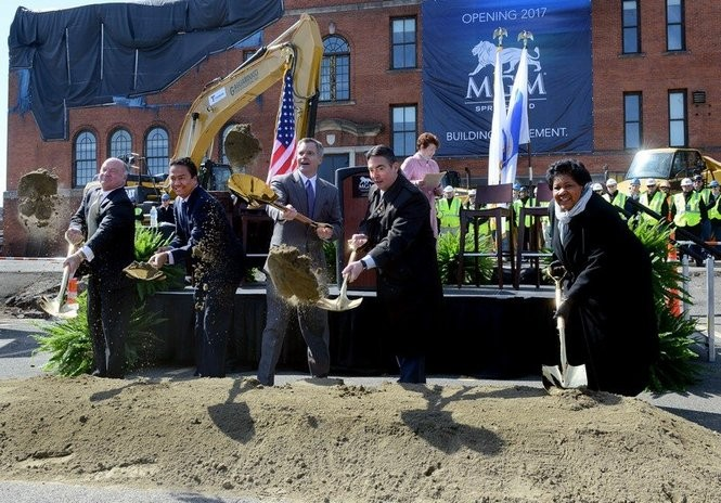 MGM Springfield's ceremonial groundbreaking took place at the former Alfred G. Zanetti School on March 24, 2015.
