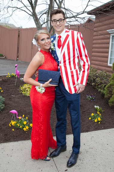 Jen Root and Jeff Leclerc arrive at the Agawam Junior Senior Prom held on May 1st at the Log Cabin in Holyoke, MA.