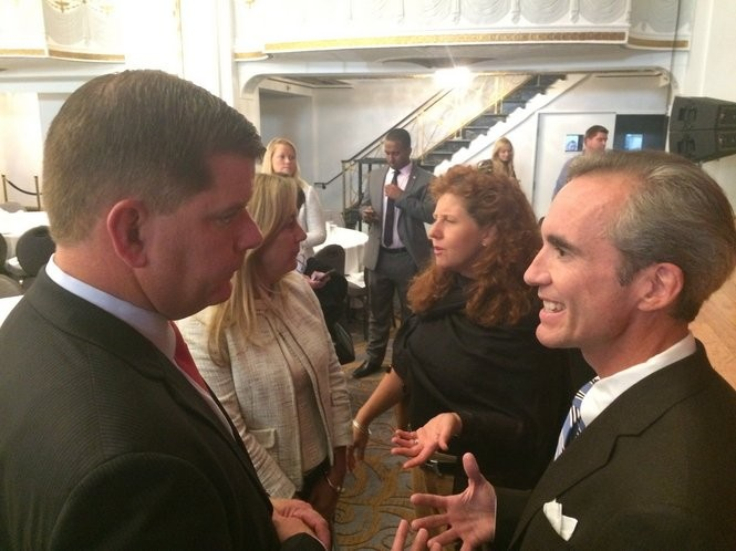 Boston Mayor Marty Walsh, left, and LEGO Education North America CEO Colin Gillespie talk after Walsh's speech to the Greater Boston Chamber of Commerce in 2015.