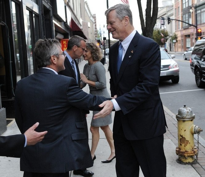 A fundraiser was held in September at the Student Prince featuring Gov. Charlie Baker. Here is Peter A. Picknelly, a host of the fundraiser, greeting the governor.
