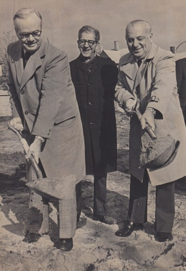 12.10.1973 | SPRINGFIELD -- Curtis Blake, co-founder of the Friendly Ice Cream Corp., left, and American International College President Harry J. Courniotes break ground for the Curtis Blake Center for Children with Learning Difficulties. With them at the site at the corner of State Street and Concord Terrace is AIC Building and Grounds Committee Chairman Ned N. Boyajy. The children's center, set for completion be September, was made possible by a $250,000 gift from Blake.