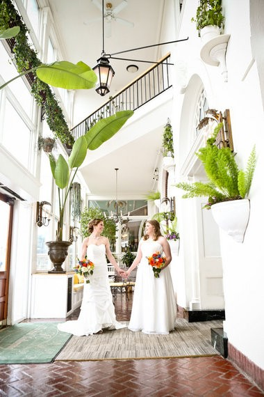 The wedding of Stacy Kruczkowski and Rachel Farr took place on March 28, 2015, at First Churches of Northampton and the Hotel Northampton. Photo by Bunnell Photography.