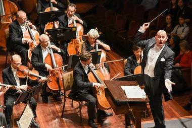 Maestro Kevin Rhodes conducts the Springfield Symphony Orchestra in its Season Grand Finale at Symphony Hall on Saturday, May 7, 2016.