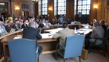 Springfield's Finance Control Boards holds its first meeting at City Hall on Saturday, July 31, 2004.