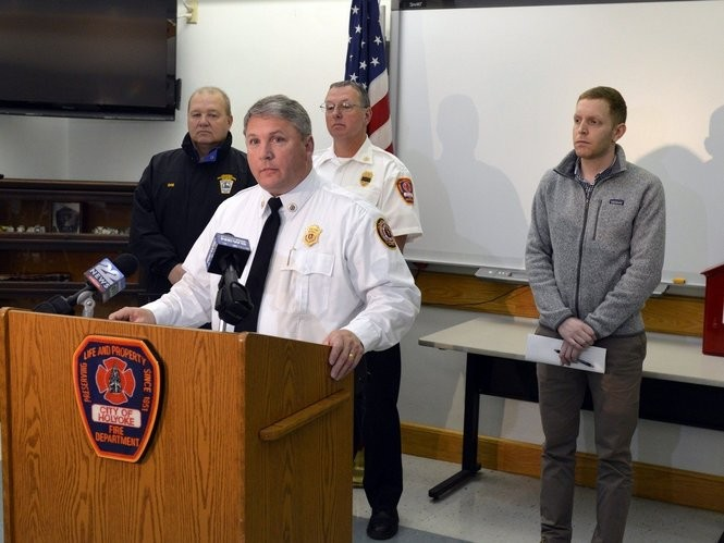 1/4/2017 -Holyoke- State and Holyoke officials held a press conference at fire department headquarters to announce that the cause of the fatal New Years Day fire on North East Street was electrical. At the podium is State Fire Marshal Peter J. Ostroskey. (Don Treeger / The Republican)