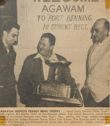A newspaper clipping from the Columbus (Ga.) Ledger-Enquirer details Agawam High School's 1952 Peanut Bowl victory.
