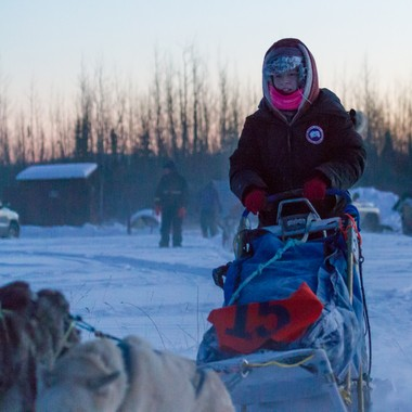 Nicole Faille and her team of dogs at the beginning of the Top of the World 350 dog sled race in Alaska.