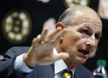 Bruins owner Jeremy Jacobs addresses the media Saturday before his team's game against the New York Rangers at TD Garden in Boston.
