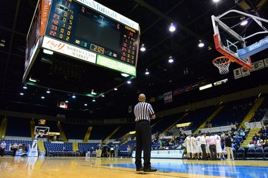 An inside view of the MassMutual Center when it is set up for basketball.