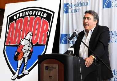 Michael Savit, principal owner of the Springfield Armor, speaks during the June 30, 2009 press conference when the team's name and logo was unveiled.