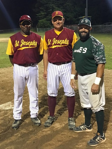 Don't call them old-timers: From left - Ralph Edwards, 53; Karl Oliveira, 54; and Dan Genovese, 56 - are active in the Tri-County League