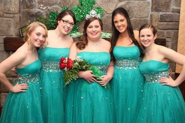 From left, Colleen court members Meghan R. Kennedy, of South Hadley, and Abigail J. Scanlon, of South Hadley, 2014 Grand Colleen Sheila S. Fallon, of Holyoke, and court members Sarah LaRochelle, of South Hadley, and Elizabeth A. Hurley, of Holyoke, at the 60th Annual Grand Colleen Coronation Ball held Feb. 22 at the Log Cabin Banquet and Meeting House. (The Republican photo)