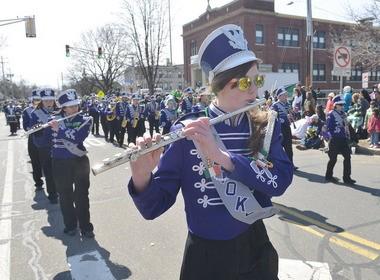 Jordan Carner in the Holyoke High School Marching Band marching in the 2013 Holyoke St. Patrick's Day Parade. (The Republicn photo)