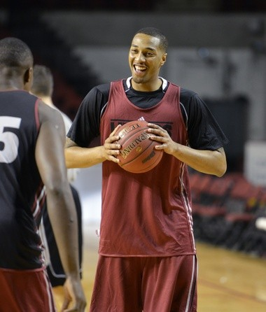 3-6-13 - Amherst- Republican staff photo by Don Treeger- UMass basketball standout Sampson Carter is shown during practice.