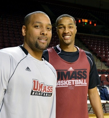 3-6-13 - Amherst- Republican staff photo by Don Treeger- UMass basketball assistant coach Shyrone Chatman (left) is pictured with his brother, standout Sampson Carter.