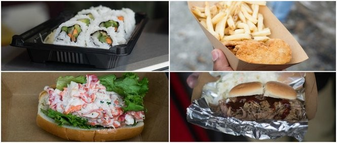 A look at some of the new concessions at UMass football games: Sushi, chicken tenders, lobster rolls and pulled pork sliders.