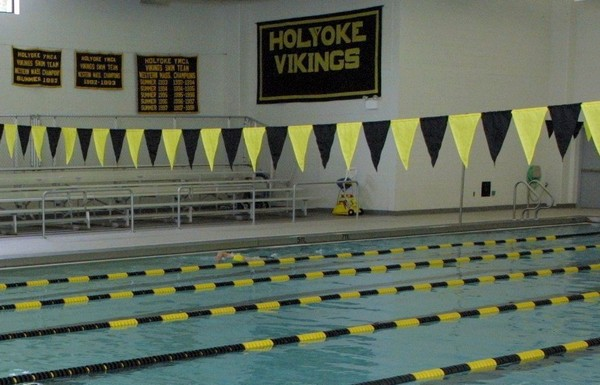 Banners for the Holyoke Vikings Swim Team hang at the Greater Holyoke YMCA.