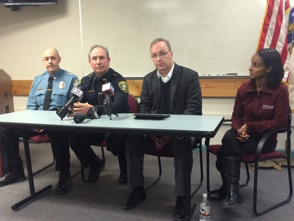 From left, UMass Amherst Police Chief John Horvath, Amherst Police Chief Scott P. Livingstone, Amherst Town Manager John Musante, and Enku Gelaye, vice chancellor for student affairs and campus life at UMass Amherst appear at a joint press conference at 5 p.m. to discuss the Blarney Blowout. The officials praised months of planning and a heavy police presence for a relatively calm and mild Blarney Blowout celebration, especially compared to the 2014 event. (Republican photo by Robert Rizzuto)