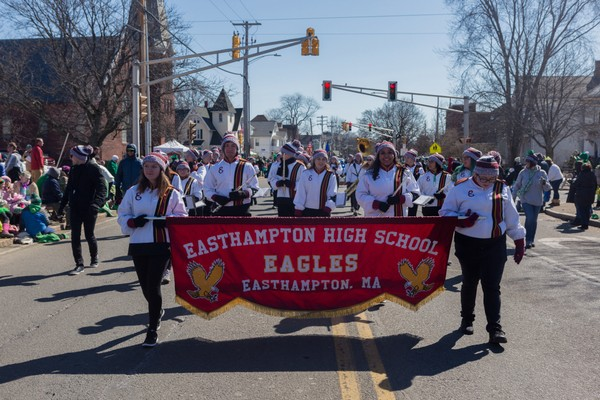 Easthampton High School marching group at 2018 Holyoke St. Patrick's Parade.