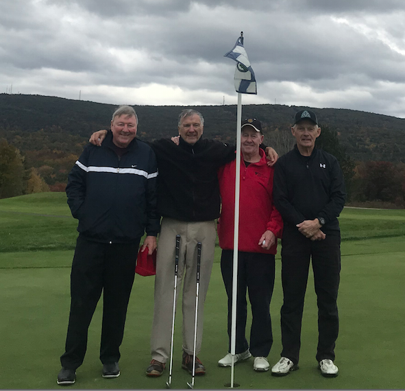 Holyoke's Bob Mitrowski, second from left, made two holes-in-one during the same round Wednesday. He accomplished the feat playing with Skip Pudlo, left, Dave Daly, second from right, and Butch Beaudin at Ledges Golf Course in South Hadley. Golf.com lists the odds of such occurrence at 67-million-to-1.