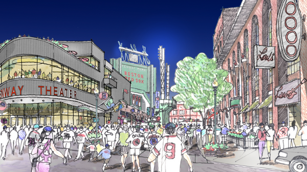 A rendering of the proposed 5,000-seat music venue, which would be called the Fenway Theater.