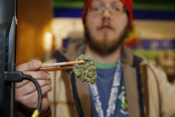 In this Friday, Dec. 19, 2014, file photo, sales associate Matt Hart uses a pair of chopsticks to hold a bud of Lemon Skunk, the strain of highest potency available at the 3D Dispensary, in Denver. Colorado emerged as the state with the second-highest percentage of regular marijuana users as it began legalizing the drug, according to a new national study released, Friday, Dec. 26, 2014. (AP Photo/David Zalubowski, File)