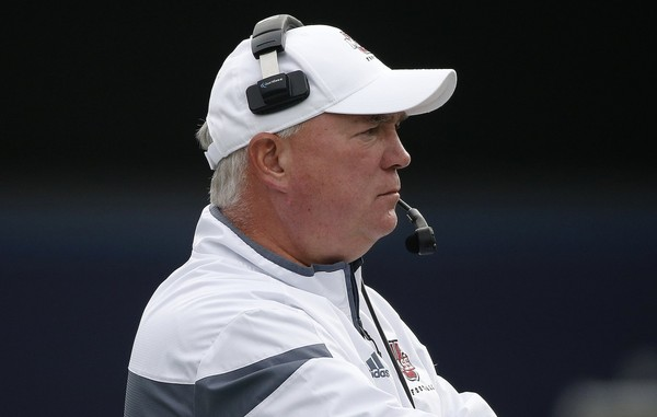 Massachusetts head coach Mark Whipple during the second quarter of an NCAA college football game against Akron in Foxborough, Mass., Saturday, Nov. 7, 2015. (AP Photo/Michael Dwyer)