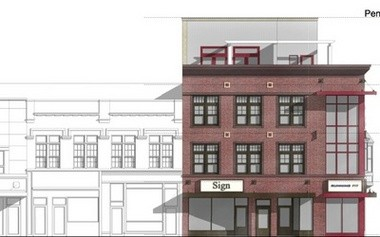 A rendering of the Running Fit building addition at 121-123 E. Liberty St.