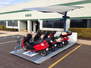 Current Motor Co., based in Pittsfield Township, recently debuted its mini fleet of solar powered scooters.