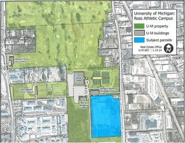 A site map of the property, as prepared by the University of Michigan.