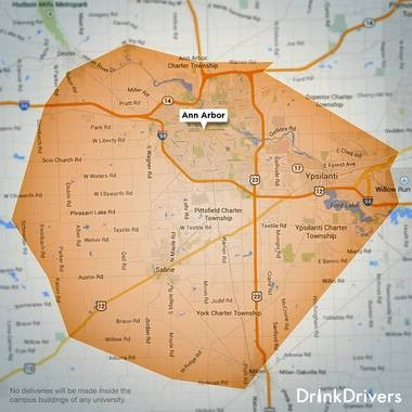 DrinkDrivers is a new alcohol delivery service that allows customers to order alcohol online and have it brought to their doorstep. Here is the company's Ann Arbor delivery coverage area.Courtesy Image