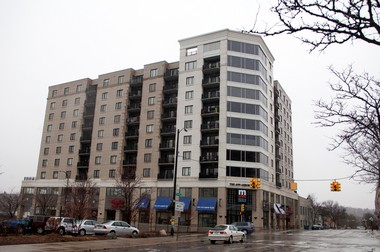The 111 North Ashley building in Ann Arbor, formerly Ashley Terrace, has one condo unit listed for sale right now.